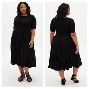 Black Super Soft Boat Neck Midi Dress